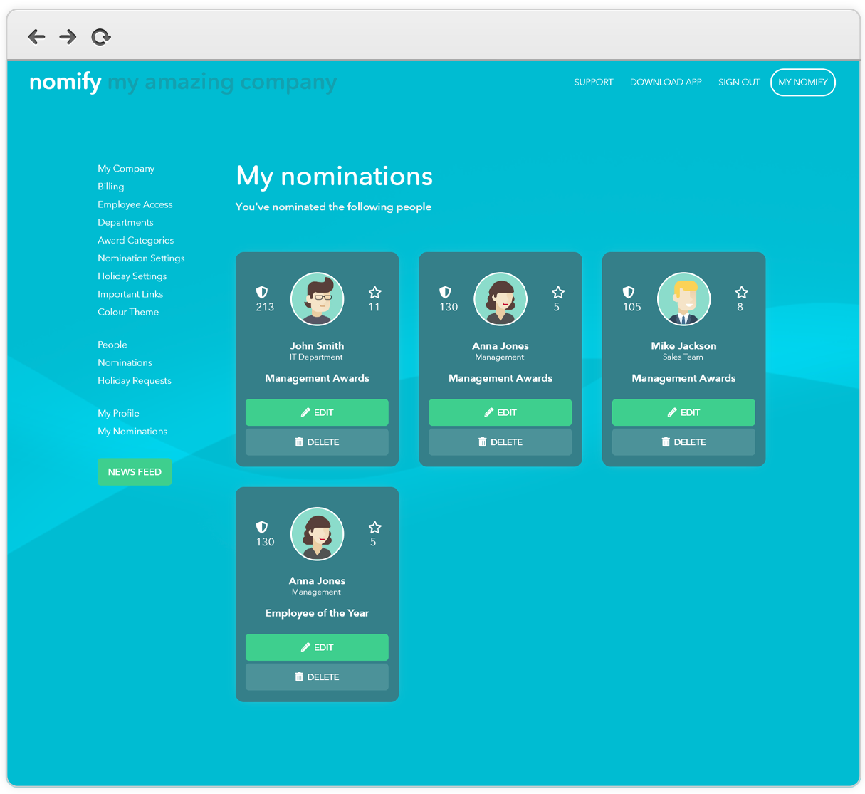 Manage employee nominations & recognition