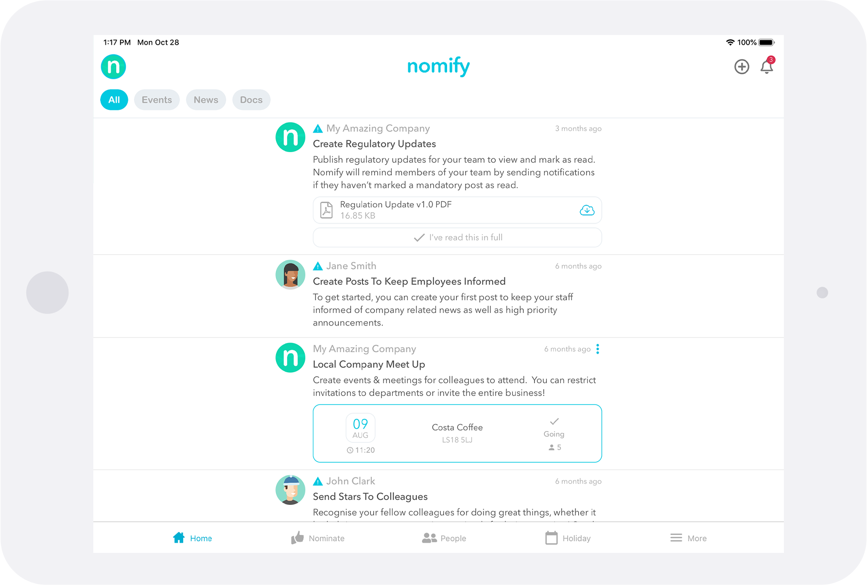 Nomify - The Employee Engagement App available on Tablets